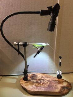 280 lumen Led portable light added to renzetti vise with custom olive wood base and Rite bobbin.