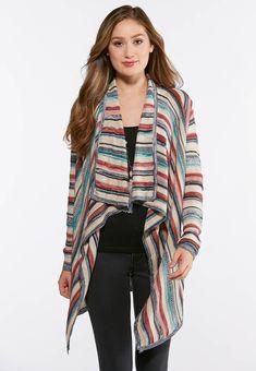 95674cafd4 Stripe Waterfall Cardigan Sweater  catoconfident  sweaterweather Cato  Fashion Plus Size