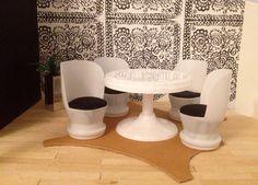 diy itse tehty dollhouse nukkekoti table pöytä chair tuoli jogurttipurkki yoghurt