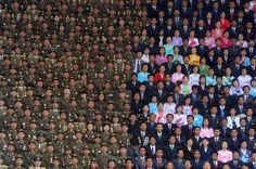 Ilya Pitalev photographed the audience at the celebrations of the 100th birthday of North Korean leader Kim Il Sung in Pyongyang, 2013.