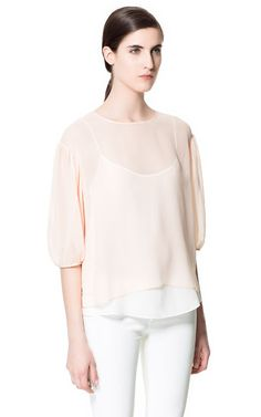 Image 2 of BLOUSE WITH BALLOON SLEEVE from Zara