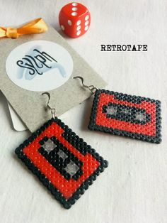 Red 8bit geeky Retrotape cassette earrings made of Hama Mini Beads perfect gift for pixel-perfect music lovers by SylphDesigns on Etsy