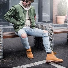 Look #1: Mens - Tan Original Chuck Hat + Black Specs + Army Green Bomber Jacket + Tan Hoodie + Ripped Stonewash Denim + Tims  Winter  Schoolboy Qish look with Distressed twist. Nice for an EEL Hoodie