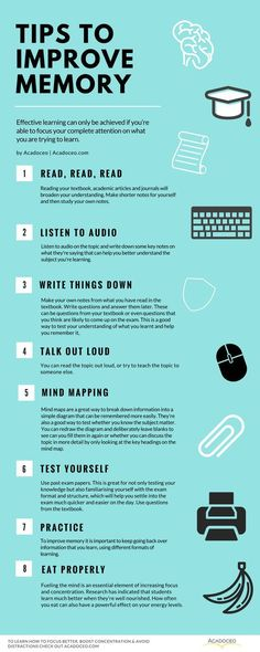 Tips to improve memory. How To Focus Better, Boost Concentration & Avoid Distractions School Study Tips, School Tips, Tips To Study, Study Ideas, Study Help, Study Inspiration, Act Study Guide, College Study Tips, Good Study Habits