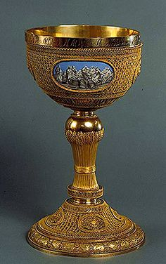 Chalice    1790    Made by Jean Francois Xavier Boudde    St Petersburg    Gold and enamel; cast, chased, filigreed and painted