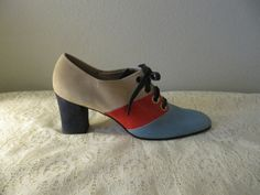 color block oxfords with chunky heel