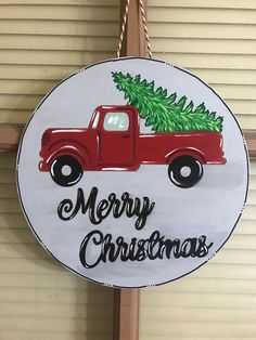 Excited to share the latest addition to my shop: Merry Christmas Red Truck decor. Wooden Christmas Ornaments, Christmas Door Decorations, Christmas Wood, Diy Party Decorations, Christmas Signs, Merry Christmas, Christmas Door Hangers, Christmas Pizza, Christmas Red Truck