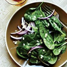 "Look no further - this Spinach with Garlic Vinaigrette salad recipe is the perfect, simple summer side dish. One online reviewer says, ""LOVE this salad! Incredibly simple to prepare, intensely flavorful, and the entire family loved it. This will surely become a go-to side on busy weeknights."""