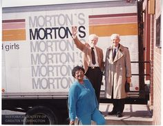 Morton's discount department store at 7th and D Streets, NW, began employing black women as sales clerks in the 1930s. By the 1940s, owner Mortimer Lebowitz had desegregated the store's dressing and restrooms, years ahead of other downtown businesses. Photo: Lebowitz with long-time employees Patricia Carr and Sam Braun, 1980s.