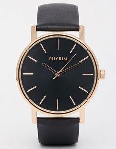 Pilgrim - Montre en plaqué or rose avec bracelet en cuir