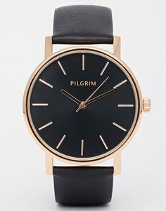 Damn! *Pilgrim Rose Gold Plated Watch With Leather Strap*