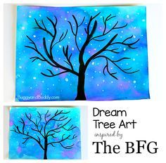 We were inspired by the dream tree in The BFG Disney movie to create this starry night sky art project. This art activity uses all kinds of fun art techniques a Bfg Activities, Art Activities For Kids, Art For Kids, Paint Night For Kids, Creative Activities, Winter Activities, Winter Art Projects, Projects For Kids, Crafts For Kids
