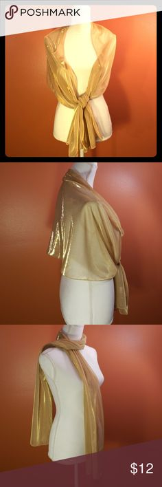 Beautiful GOLD Long scarf CAPTIVATING scarf in SHIMMERING GOLD color. EUC - wore one time to wedding with Chico's dress in my closet. Purchased at Carson's.   MEASUREMENTS - 20 inches wide x 70 long. Carson's Accessories Scarves & Wraps
