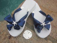 Wedding Flip Flops. Beach Wedding .Bridal Flip Flops in Blue Satin Ribbon . Rhinestone Starfish.White flip flops