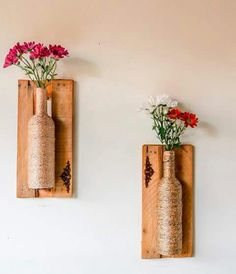 Construindo Minha Casa Clean: 17 Ideias DIY para Decorar a Casa com Pouco Dinheiro! Wine Bottle Art, Wine Bottle Crafts, Bottle Wall, Craft Projects, Projects To Try, Diy And Crafts, Arts And Crafts, Diy Y Manualidades, Diy Furniture