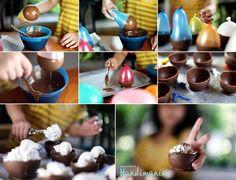 Dessert bowls made of chocolate