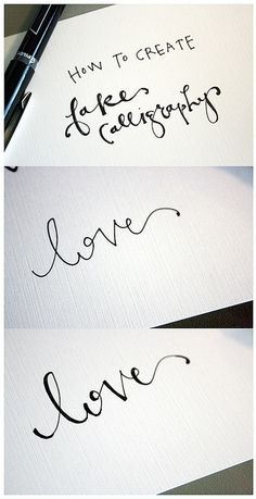 Learn a simple technique for making your writing look fancy. This post will teach you how to create fake calligraphy for stationery, lettering, art and Diy And Crafts, Arts And Crafts, Paper Crafts, Fake Calligraphy, Calligraphy Tutorial, Beautiful Calligraphy, Calligraphy Writing, Copperplate Calligraphy, Cool Ideas