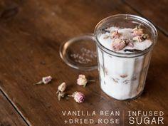 Vanilla bean and dried rose infused sugar by Justina Blakeney