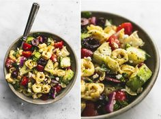 Quick and easy Greek Tortellini Pasta Salad with zesty Greek lemon dressing fresh veggies and hearty tortellini pasta Tortellini Pasta, Pasta Salad With Tortellini, Vegetarian Recipes, Cooking Recipes, Healthy Recipes, Pasta Dishes, Food Dishes, Spinach Ravioli, Dinner Side Dishes