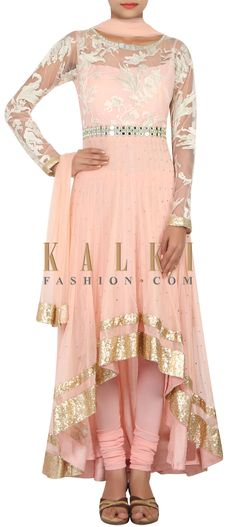 Buy Online from the link below. We ship worldwide (Free Shipping over US$100) http://www.kalkifashion.com/catalog/product/view/id/14847/s/peach-net-a-symmetrical-anarkali-suit-embellished-in-resham-and-zari-only-on-kalki/