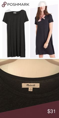 Madewell Swingy Tee Dress Madewell swing dress in t-shirt fabric. Short, fitted sleeves and loose-fit body. Hits right at, or a couple inches above the knee. Color is a dark charcoal gray. Excellent condition! Purchased at the end of last season. Please let me know if you have any questions. Open to all offers! Madewell Dresses Midi