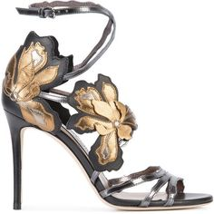 Jimmy Choo - Lolita 100 sandals - women - Leather - 38.5 ($1,350) ❤ liked on Polyvore featuring shoes, sandals, heels, grey, gray leather pumps, jimmy choo pumps, strappy pumps, ankle strap shoes and floral pumps
