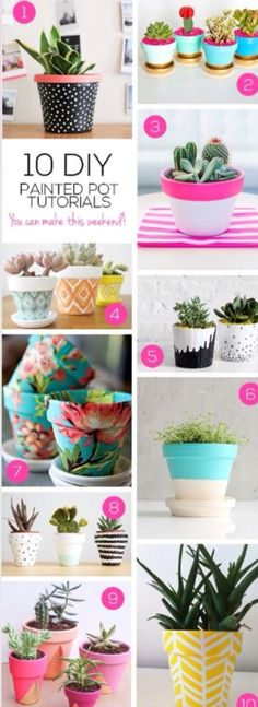 DIY Pretty Plant Pots You Can Create This Weekend Macetas pintadas / Painted planter potMacetas pintadas / Painted planter pot Fun Crafts, Diy And Crafts, Arts And Crafts, Decor Crafts, Simple Crafts, Diy Projects To Try, Craft Projects, Garden Projects, Garden Ideas
