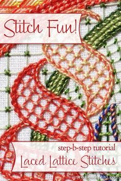 Laced Lattice Stitches can be used in hand embroidery as a filling. By lacing a grid of long stitches, you can provide interest, texture, and a whole new look to your embroidery projects. This step-by-step stitch tutorial will show you how!