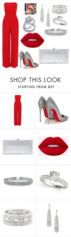 """Dressed for the occasion"" by kindee01 ❤ liked on Polyvore featuring Valentino, Christian Louboutin, Jimmy Choo, Bling Jewelry and Sole Society"