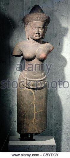 religion, Hinduism, deity Uma (also Parvati, wife of Siva) statue, red Laterite, Khmer fine arts, Banteay Srei, Angkor, Cambodia, 12th century, Russek Collection, - Stock Image