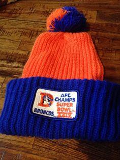 56676e21d1c Vintage DENVER BRONCOS AFC CHAMPS Logo Knit Winter Hat Pom Cap Beanie Retro  NFL