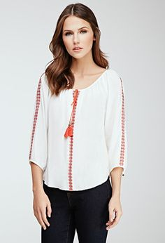Embroidered Peasant Blouse | Forever 21 - 2000080161