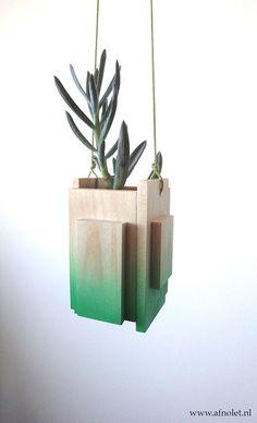 Hanging vase/planter....wood...etsy