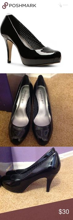 "Madden Girl Getta Black Patent Pump Worn twice, in excellent condition! 3.5"" heel with a hidden 1"" platform. Black patent outside. They do run about 1/2 size big. Madden Girl Shoes Heels"