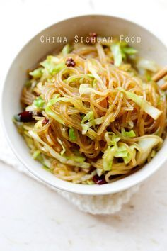 shredded cabbage glass noodle stir fry w/scallion garlic ginger dried chili pepper Sichuan peppercorn seeks oil soy salt sugar Asian Recipes, Ethnic Recipes, Chinese Recipes, Indonesian Recipes, Orange Recipes, Vegetarian Recipes, Healthy Recipes, Healthy Dinners, Healthy Options