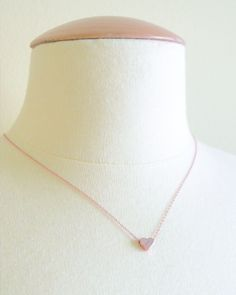 Heart Initial Necklace - choose a letter to be hand stamped on a petite silver or rose gold heart. By Olive Yew.