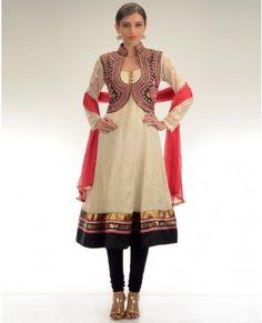 Cream Anarkali Suit with Jacket Style Yoke : love this one..maybe I can stitch something similar