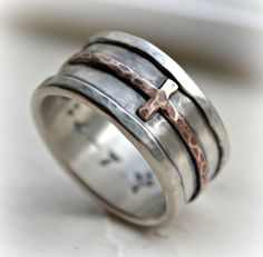 mens cross wedding band  rustic hammered cross by MaggiDesigns