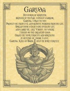 Garuda Prayer Poster- Born of Hindu and Buddhist mythology, the Garuda Prayer Poster shows Garuda, who is a bird-like creature. Fantasy Creatures, Mythical Creatures, Mythological Creatures, Mythical Birds, Pagan Witch, Witches, Hindu Art, Book Of Shadows, Gods And Goddesses