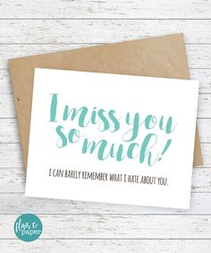 I miss you Card Boyfriend Card Funny Cards Funny I miss you card Snarky sassy card Funny Cards -  I miss you so much I can barely remember by FlairandPaper on Etsy