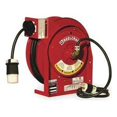 Heavy Duty Cord Reel, SJTOW, 45 Ft. by Reelcraft. $707.27. Heavy-Duty Cord ReelsHigh-capacity collector ring. Speed-latch mechanism with latch cam. Powder-coated steel with welded base.UL Listed and CSA Certified.Extension CordSingle-connector units have clamping strain relief. Duplex GFCI unit features flip-top connector cover.Heavy Duty Cord Reel, Industrial, Automatic Retracting, Gauge/Conductor 12/3, Cord Type SJTOW, Cord Length (Ft.) 45, Color Red, Voltage 125, Max....