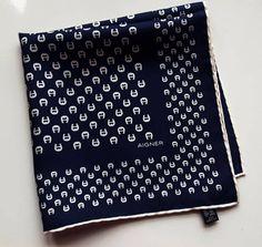 Vintage Aigner Small Scarf Pocket Square Dark Blue