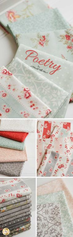Poetry - Moda Fabrics The Poetry collection by 3 Sisters blends various elements into a beautiful synthesis of fabric. Sold by Moda Fabrics, this line combines florals, polka dots, and tonal patterns for a sophisticated result. Create a beautiful throw, an elegant wall hanging, or an upscale table runner with this selection of 100% cotton fabric.