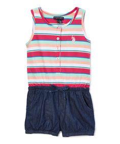 Fuchsia Stripe Retro Romper - Infant, Toddler & Girls