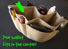 DIY purse organizer- Made from a placemat! Makes is easy to switch from one purse to another!