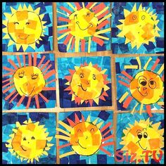Happy kindergarten Suns to brighten your day! Tissue paper and construction paper. Kindergarten Art Lessons, Art Lessons Elementary, Kindergarten Crafts Summer, Spring Art Projects, School Art Projects, Arte Elemental, First Grade Art, Third Grade, Ecole Art