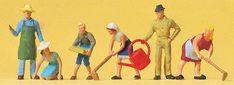 Preiser Kg Working People Working in the Garden (6) -- Model Railroad Figures -- HO Scale -- #14081