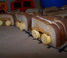 Close up of the sandwich train cars for a train-themed birthday party