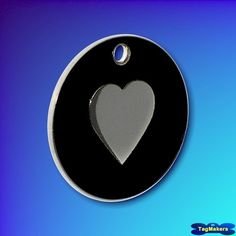 Enamel Pet Tags 25mm - Black - Heart Shape
