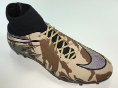 SR4U Reflective Gold Soccer Laces on Nike Hypervenom Phantom 2 Camo Pack